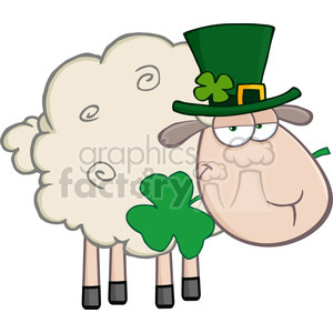 Royalty Free RF Clipart Illustration Irish Sheep Carrying A Clover In Its Mouth