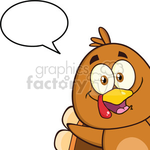 8977 Royalty Free RF Clipart Illustration Smiling Turkey Bird Cartoon Character Looking From A Corner With Speech Bubble Vector Illustration Isolated On White clipart. Royalty-free image # 396947