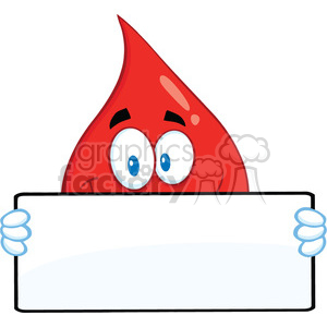 Royalty Free RF Clipart Illustration Smiling Red Blood Drop Cartoon Mascot Character Holding A Banner clipart. Commercial use image # 396970