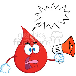 Royalty Free RF Clipart Illustration Angry Red Blood Drop Cartoon Mascot Character Screaming Into Megaphone With Speech Bubble clipart. Royalty-free image # 396990