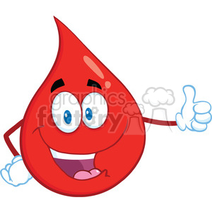 Royalty Free RF Clipart Illustration Red Blood Drop Cartoon Mascot Character Giving A Thumb Up clipart. Commercial use image # 397000