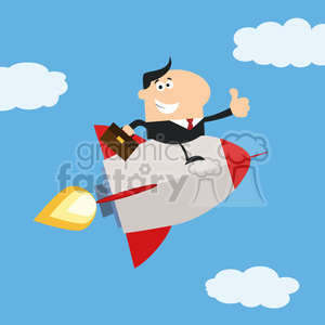8339 Royalty Free RF Clipart Illustration Manager Flying In The Sky And Giving Thumb Up Flat Style Vector Illustration clipart. Royalty-free image # 397040