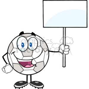 Royalty Free RF Clipart Illustration Happy Soccer Ball Cartoon Character Holding A Blank Sign clipart. Royalty-free image # 397050