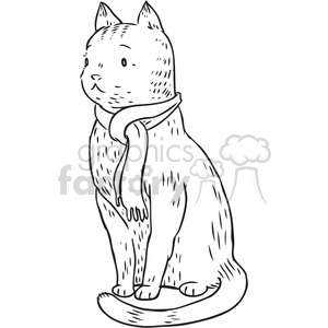 cat wearing a scarf clipart. Royalty-free image # 397079
