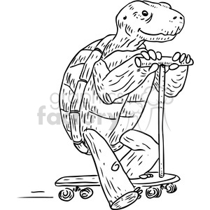 cartoon black+white animal turtle scooter turtles holding fun kid