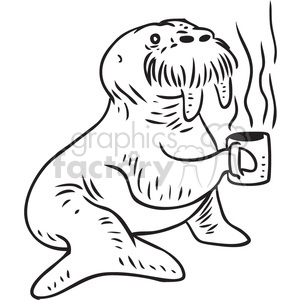 walrus drinking coffee vector RF clip art images clipart. Commercial use image # 397109