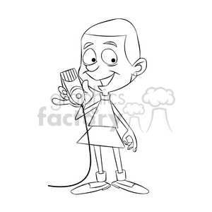 woman shaved all her hair off cartoon black white clipart. Commercial use image # 397433