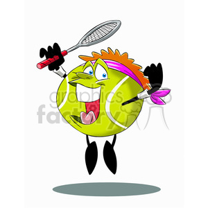terry the tennis ball cartoon character jumping with racket clipart. Royalty-free image # 397463