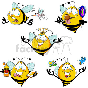 bob the cartoon bee character set clipart. Commercial use image # 397473