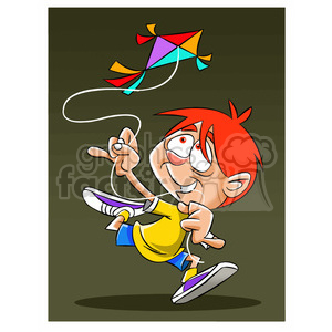 josh the cartoon character flying a kite clipart. Commercial use image # 397483