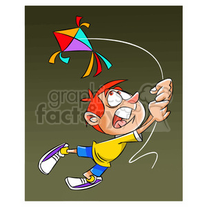 josh the cartoon character losing control of kite clipart. Royalty-free image # 397503