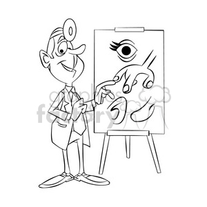doug the cartoon doctor teaching anatomy black white clipart. Royalty-free image # 397543