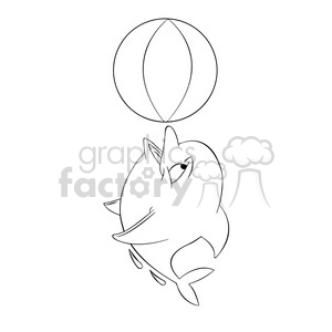 dallas the cartoon dolphin playing with beach ball black white clipart. Royalty-free image # 397583