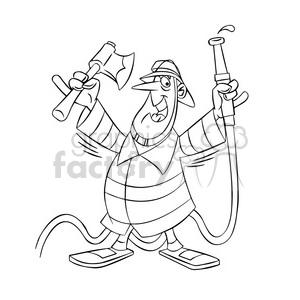 frank the cartoon firefighter holding an axe and hose black white clipart. Commercial use image # 397593