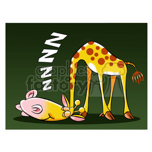 character mascot cartoon giraffe tired sleeping snore snoring