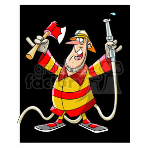 frank the cartoon firefighter holding an axe and hose clipart. Royalty-free image # 397633