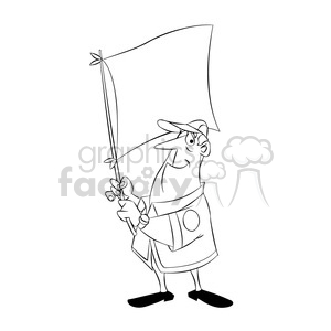 cartoon character man guy holding white flag scout camping boy+scouts cub+scouts black+white