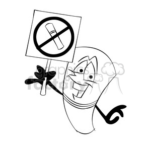 cartoon cigarette holding no smoking sign black white clipart. Royalty-free image # 397663