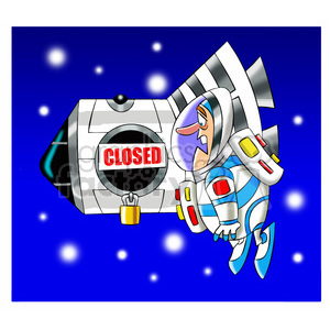 scott the astronaut cartoon character locked out of ISS clipart. Royalty-free image # 397673