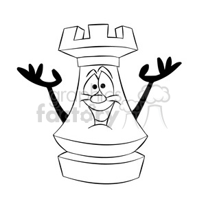 cartoon chess piece character rook black white clipart. Commercial use image # 397713
