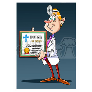 doug the cartoon doctor holding university degree clipart. Commercial use image # 397723