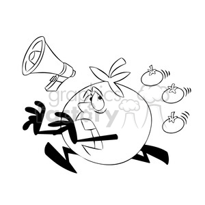 tom the cartoon tomato character running from tomatoes black white clipart. Commercial use image # 397763