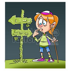 trina the cartoon girl character hiking and lost clipart. Commercial use image # 397873