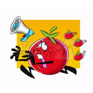tom the cartoon tomato character running from tomatoes clipart. Royalty-free image # 397893