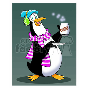 sal the cartoon penguin character drinking hot coffee clipart. Commercial use image # 397903