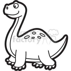 brachiosaurus dinosaur cartoon in black and white clipart. Commercial use image # 397921