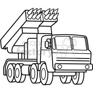 military armored mobile missle launch vehicle outline clipart. Commercial use image # 397991