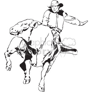 bronco rodeo bull cowboy black+white