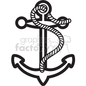 small anchor design illustration graphic black white clipart. Royalty-free image # 398041