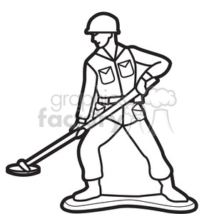 black white toy mine sweeper soldier illustration graphic clipart. Royalty-free image # 398061