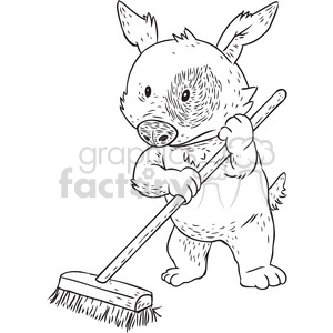 dog sweeping cleaning funny puppy comical clean broom