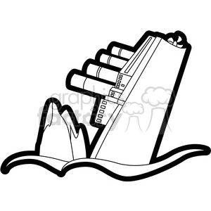 sinking ship from an iceberg black and white clipart. Commercial use image # 398111