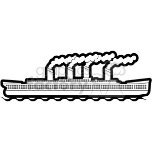large ship in the ocean black and white clipart. Commercial use image # 398131