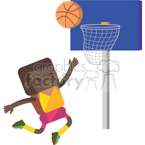 basketball african american player illustration clipart. Commercial use image # 398141