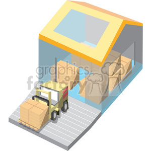 cartoon warehouse loading dock clipart. Royalty-free image # 398261
