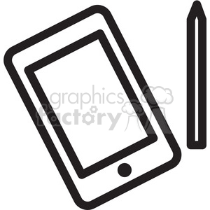 tablet with stylis icon clipart. Commercial use image # 398326