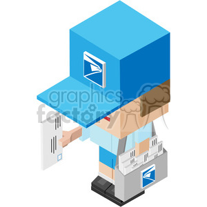stamp postal mail delivery email message envelope mailman postal+man isometric symmetrical rg employee
