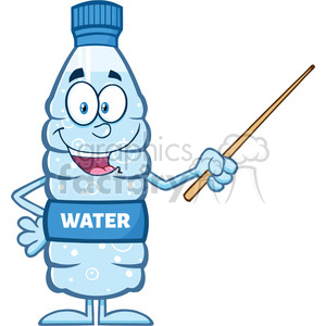 royalty free rf clipart illustration talking water plastic bottle cartoon mascot character using a pointer stick vector illustration isolated on white clipart. Commercial use image # 398882