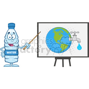 water plastic bottle cartoon mascot character using a pointer stick by a board with earth globe with water faucet and drop vector illustration isolated on white clipart. Royalty-free image # 398892