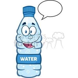 royalty free rf clipart illustration smiling water plastic bottle cartoon mascot character speech bubble vector illustration isolated on white clipart. Commercial use image # 398911