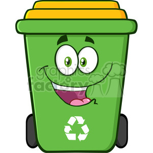 royalty free rf clipart illustration happy green recycle bin cartoon character vector illustration isolated on white background clipart. Royalty-free image # 398939