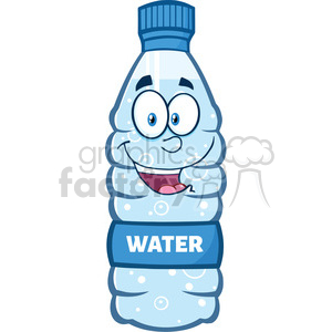water bottle cartoon character earth