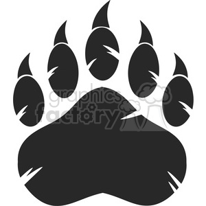 royalty free rf clipart illustration black bear paw with claws vector illustration isolated on white background clipart. Commercial use image # 398987