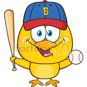 royalty free rf clipart illustration yellow chick cartoon character holding a baseball and bat vector illustration isolated on white clipart. Royalty-free image # 398997
