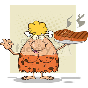 chef cave woman cartoon mascot character holding up a platter with big grilled steak and gesturing ok vector illustration clipart. Commercial use image # 399077