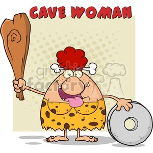 happy red hair cave woman cartoon mascot character holding a club and showing whell vector illustration with text cave woman 01